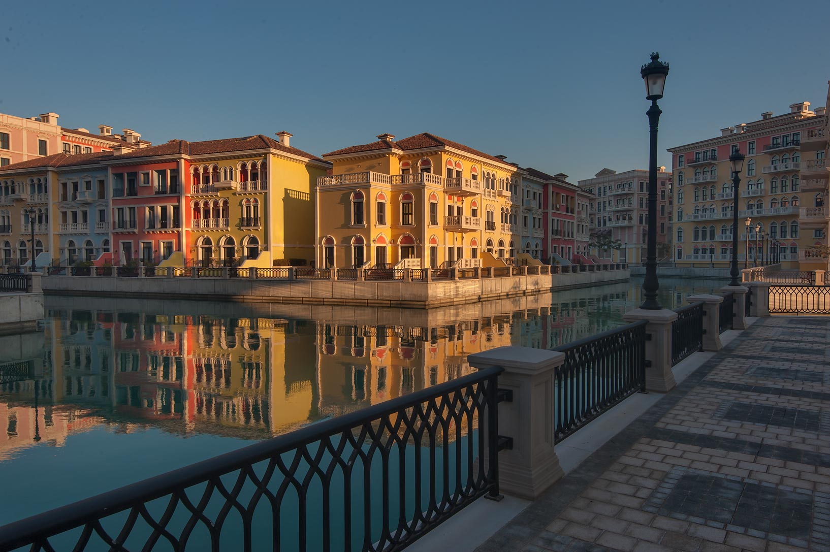 Embankment of a canal in Qanat Quartier (Venetian...Pearl Development Project, Doha, Qatar