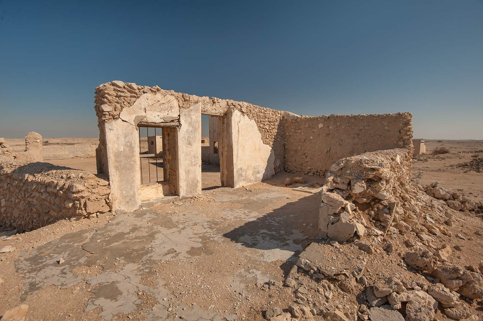 Stone walls in a village of Al Jumail (Jumayl) west of Ruwais. Northern Qatar