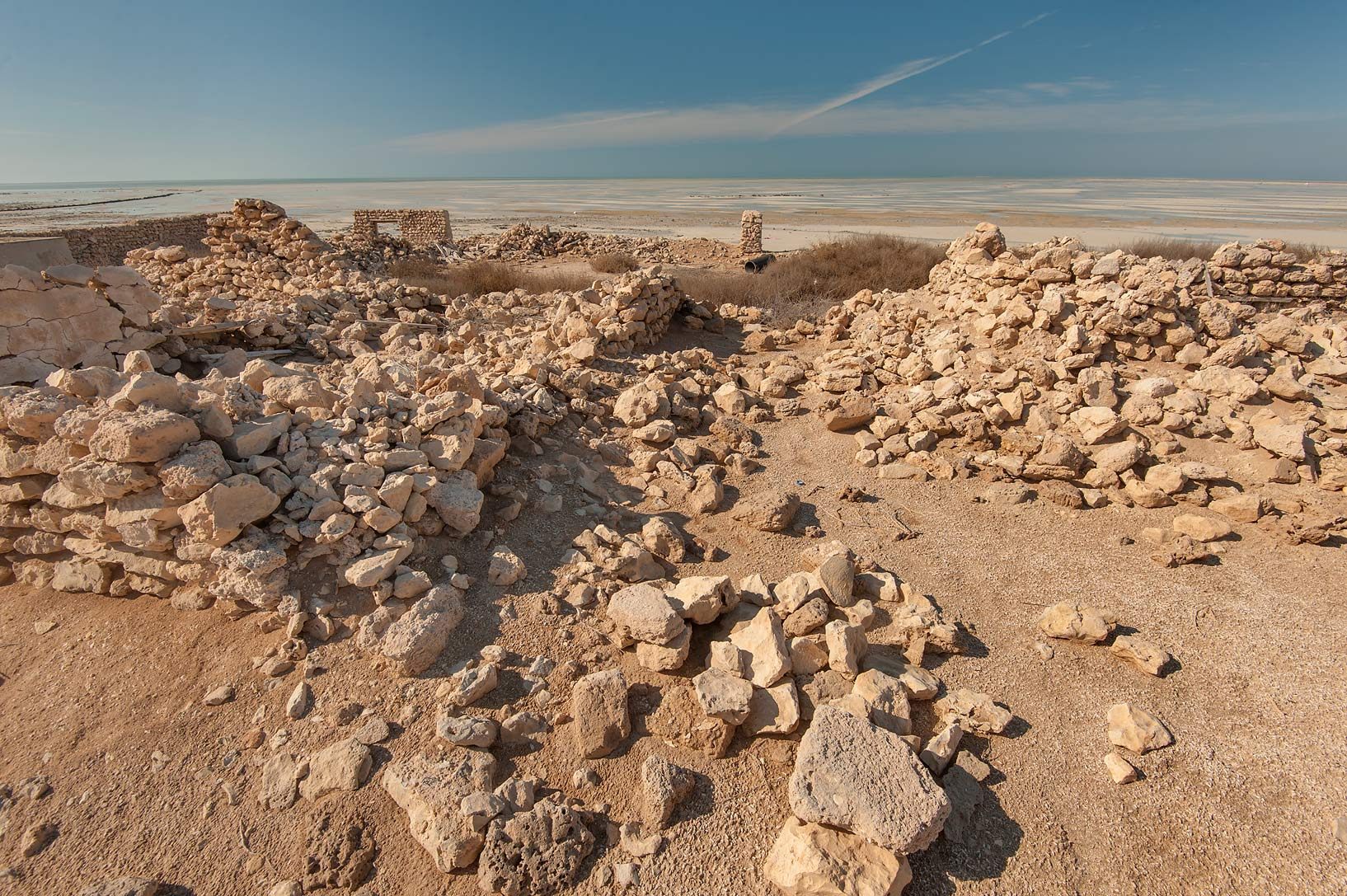 Stones near a beach in a village of Al Jumail (Jumayl) west of Ruwais. Northern Qatar