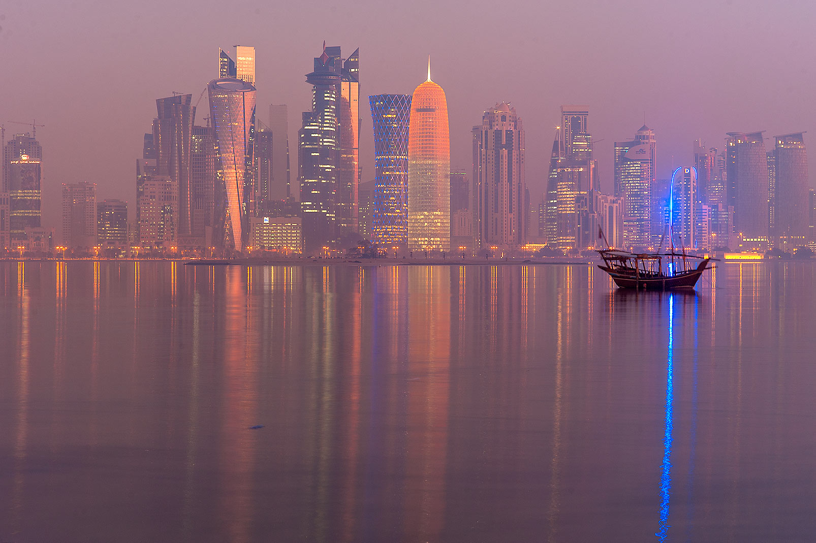 West Bay towers from Corniche promenade in mist. Doha, Qatar