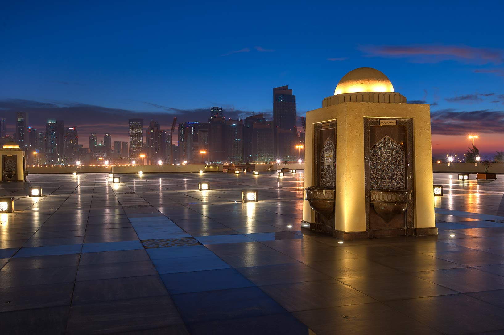 Water fountain of State Mosque (Sheikh Muhammad Ibn Abdul Wahhab Mosque). Doha, Qatar