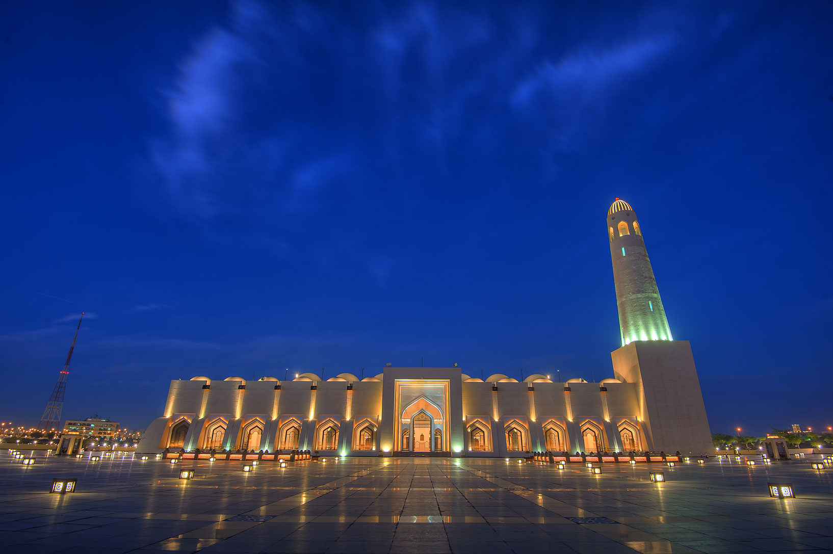 State Mosque (Sheikh Muhammad Ibn Abdul Wahhab Mosque) at morning dusk. Doha, Qatar
