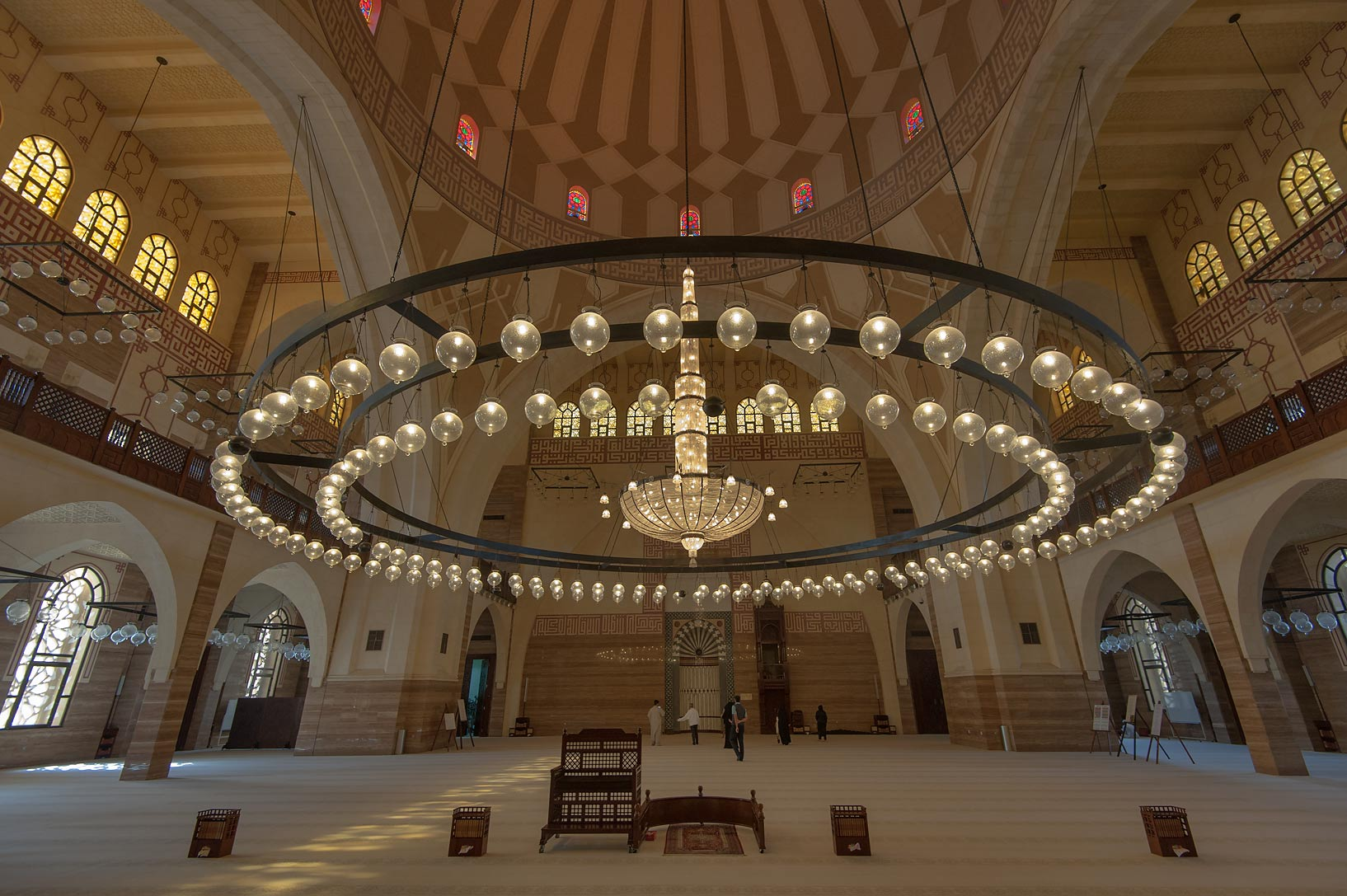 Central chandelier in Ahmed Al Fateh Mosque. Manama, Bahrain