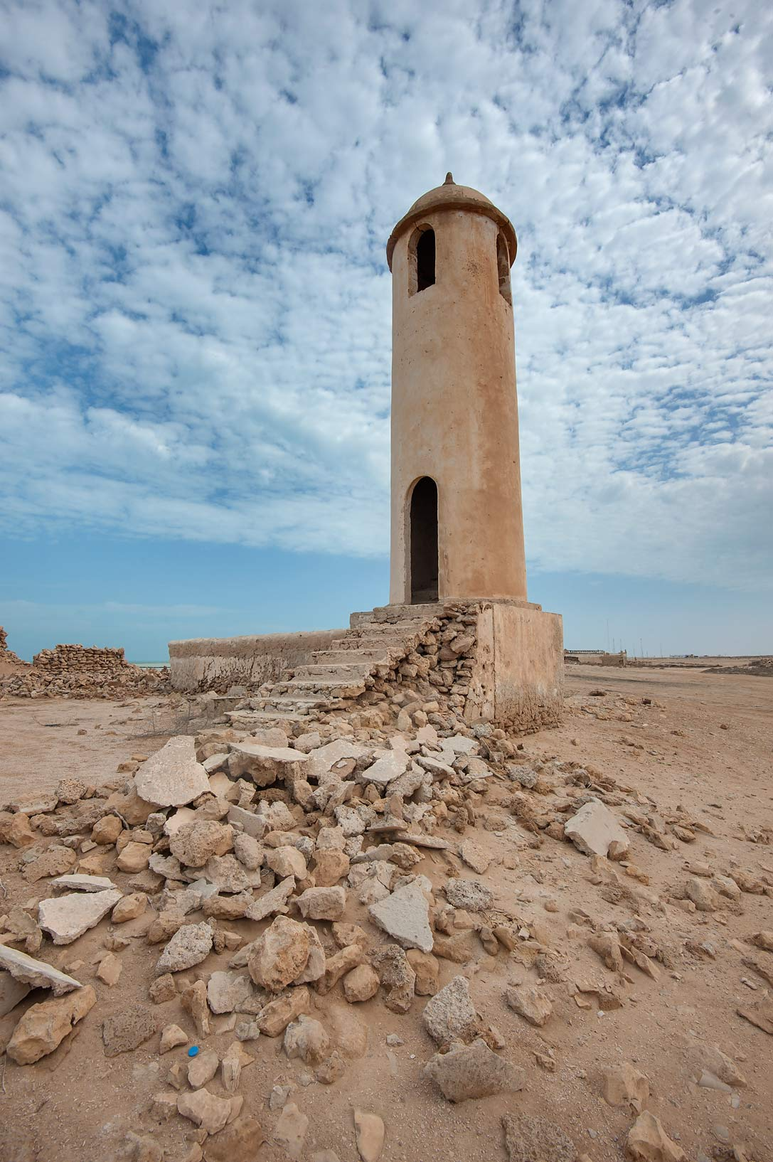 Mosque minaret in Al Areesh. Northern Qatar