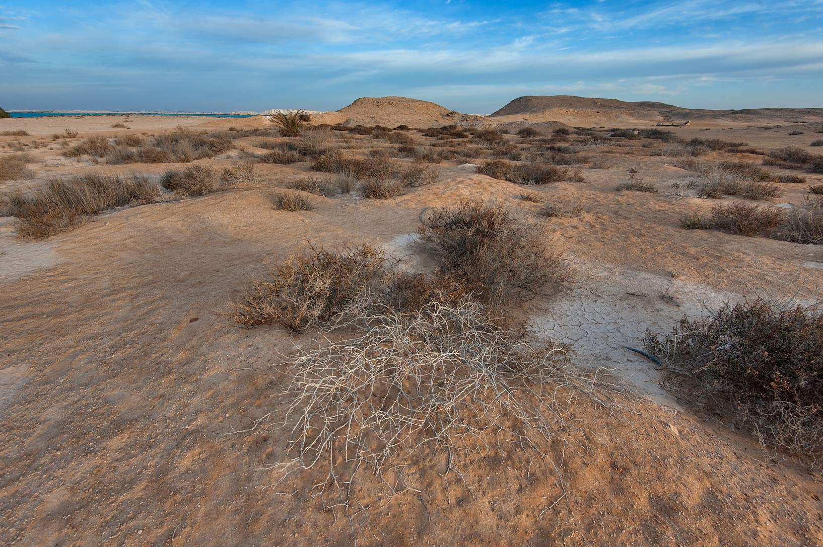 Shallow depression in Purple Island (Jazirat Bin Ghanim). Al Khor, Qatar