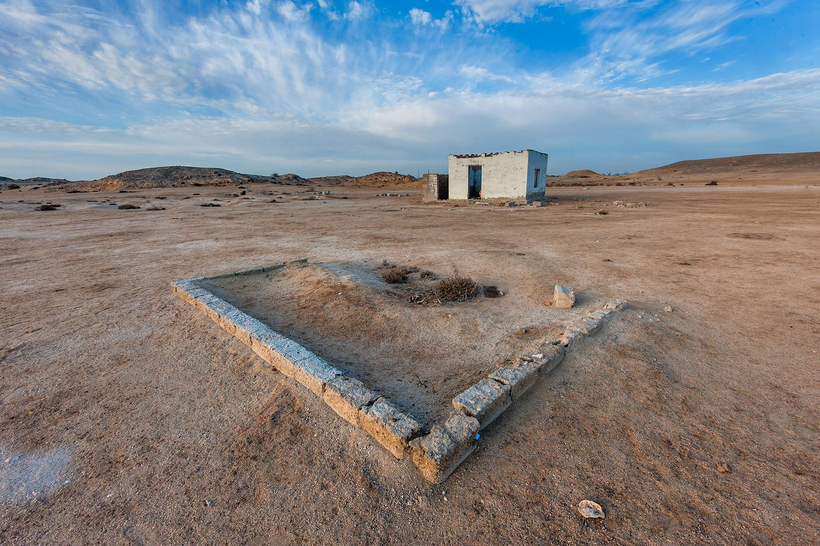 Ruins of an archeological camp in Purple Island (Jazirat Bin Ghanim). Al Khor, Qatar