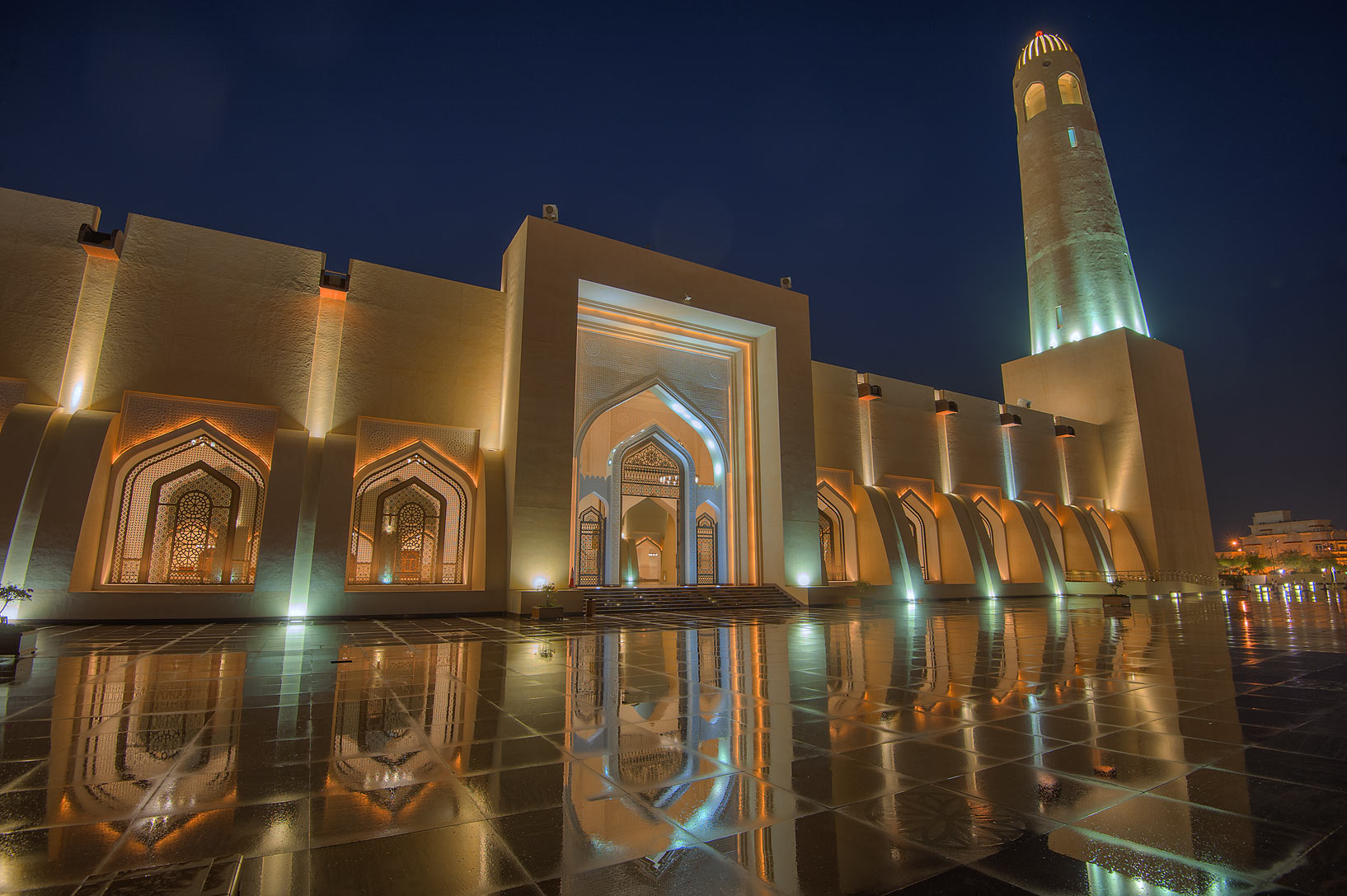 Women's gate of State Mosque (Sheikh Muhammad Ibn...Mosque) after a rain. Doha, Qatar