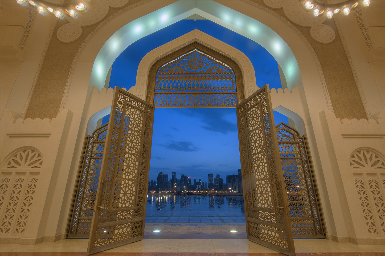 View from women's gate of State Mosque (Sheikh...Ibn Abdul Wahhab Mosque). Doha, Qatar