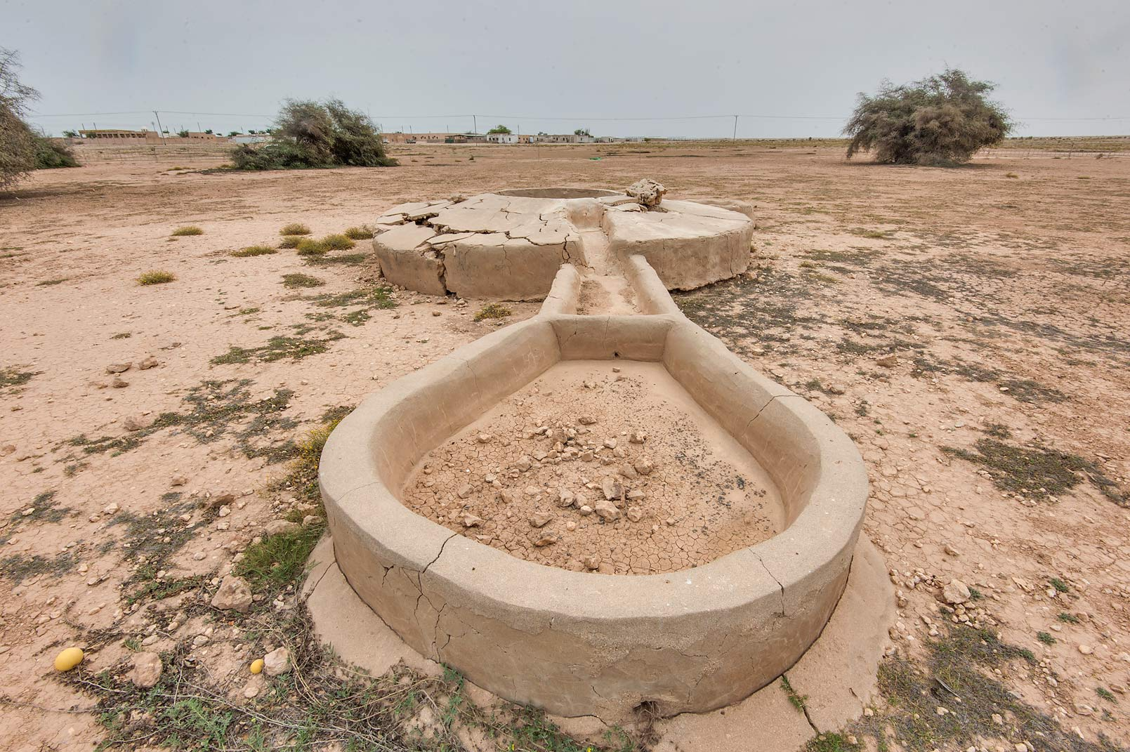 Cattle drinker section of Ain Numan water well in...Naim tribe, Nuaimiya). Northern Qatar
