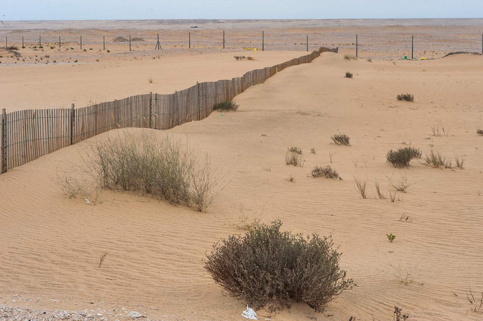 Sand fence on roadside of Salwa Rd. in area of Khashem Al Nekhsh. Qatar
