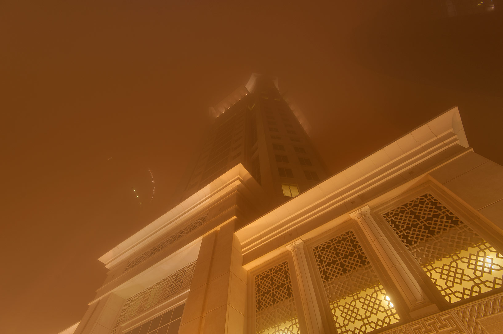 Al Gassar in West Bay during dust storm at morning. Doha, Qatar