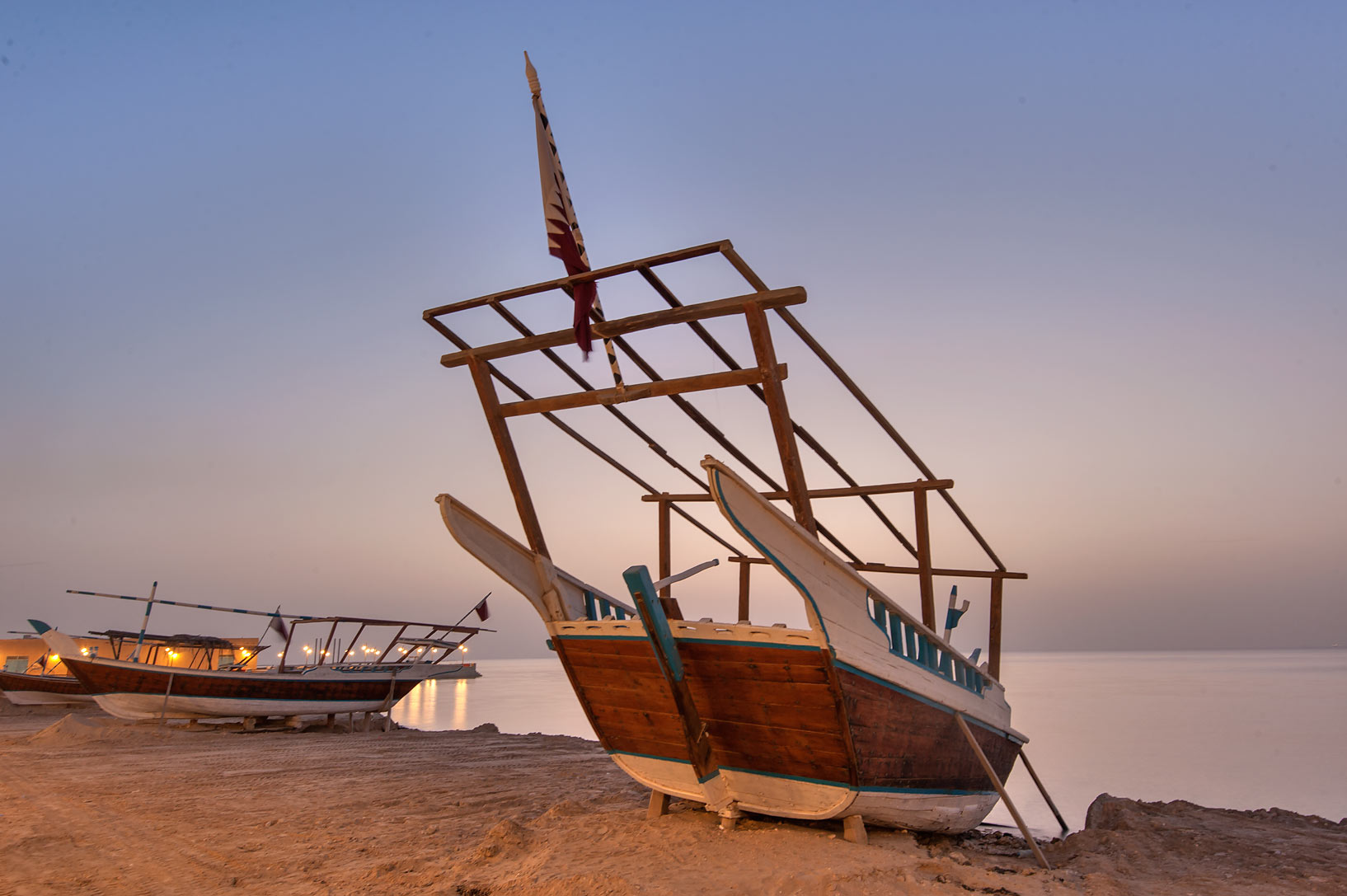 Dhow (fishing boat) on a beach in Al Wakra...Souq Waqif in Al Wakrah). Qatar