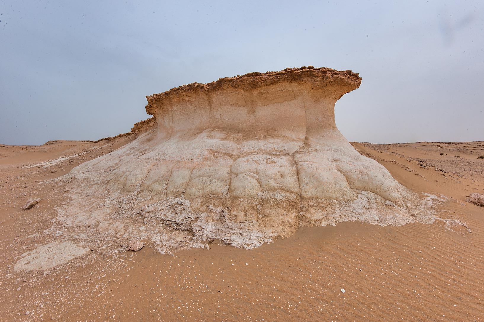 Mushroom shaped cliff in area of Nakhsh Mountain near Salwa Rd. in southern Qatar
