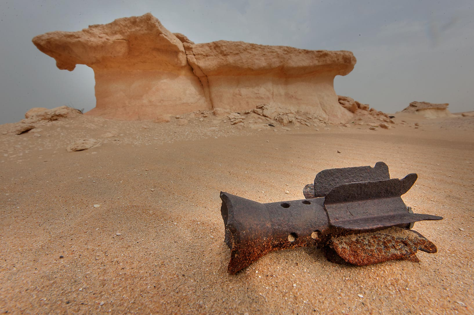 Tail of an iron rocket in area of Nakhsh Mountain near Salwa Rd. in southern Qatar