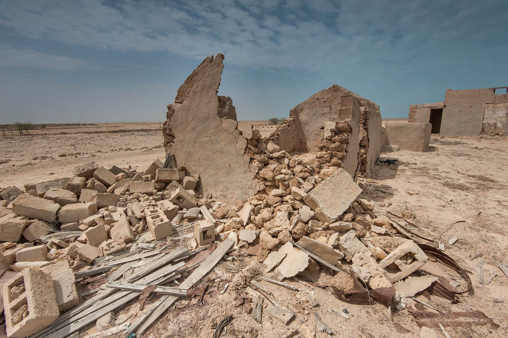 Crumbled stone walls in a village of Al Areesh (Arish). Northern Qatar