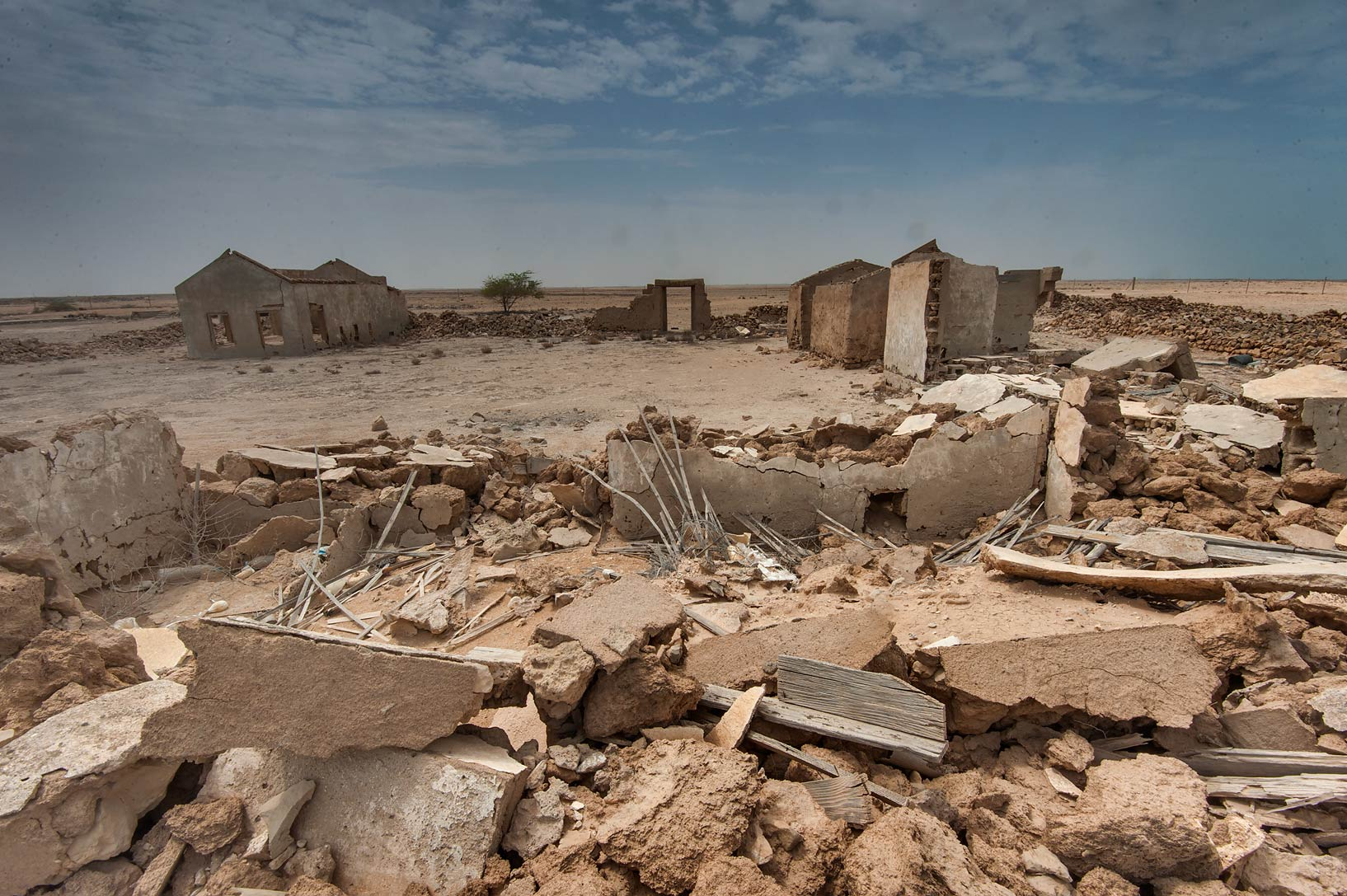 Ruined houses in a village of Al Areesh (Arish). Northern Qatar