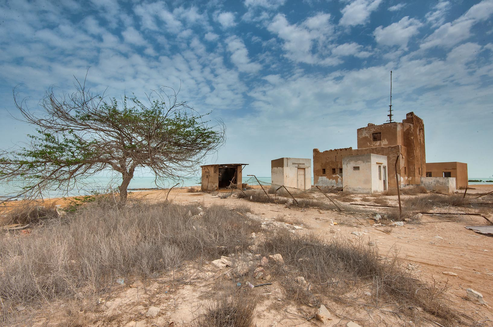 Backyard of Police Station (Coast Guard) in a village of Al Areesh (Arish). Northern Qatar