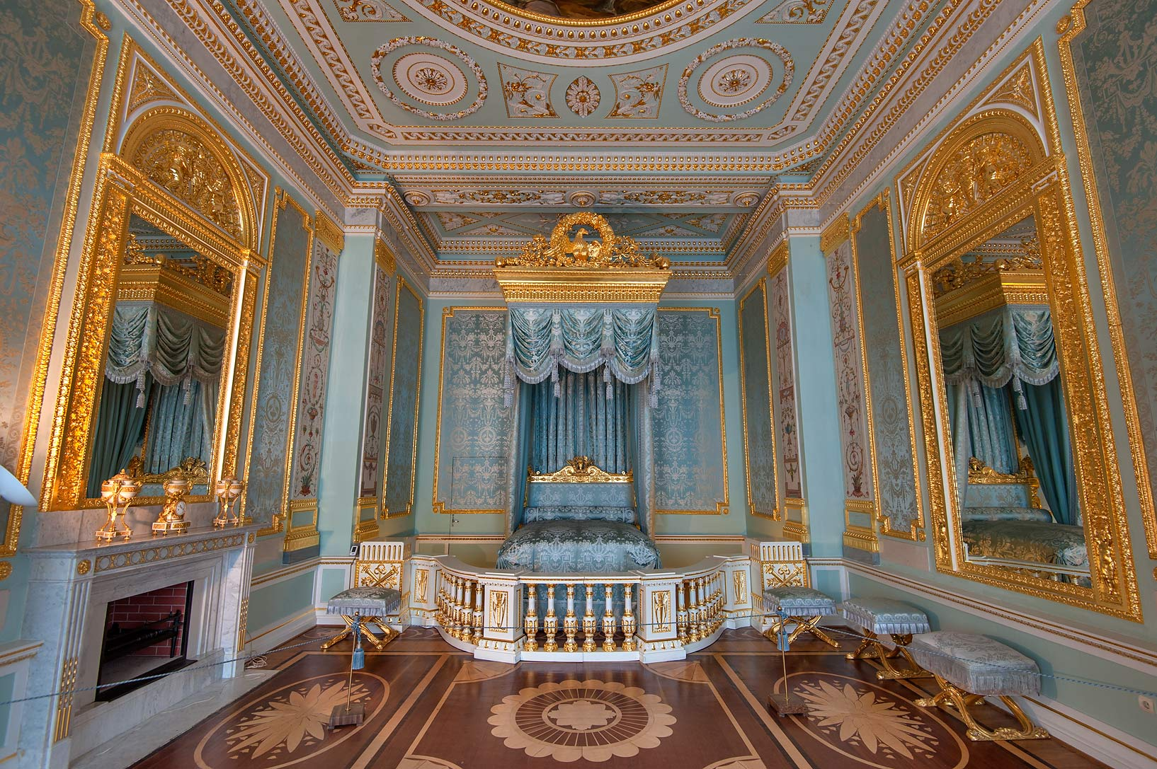 Blue draped bedroom in Gatchina Palace. Gatchina, suburb of St.Petersburg, Russia