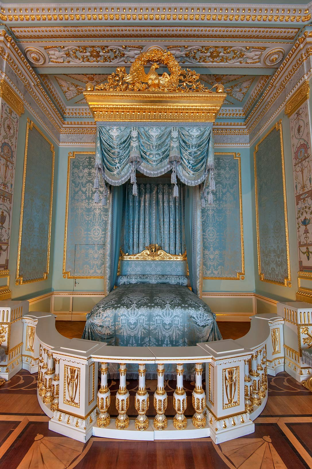 Blue draped bed in Gatchina Palace. Gatchina, suburb of St.Petersburg, Russia