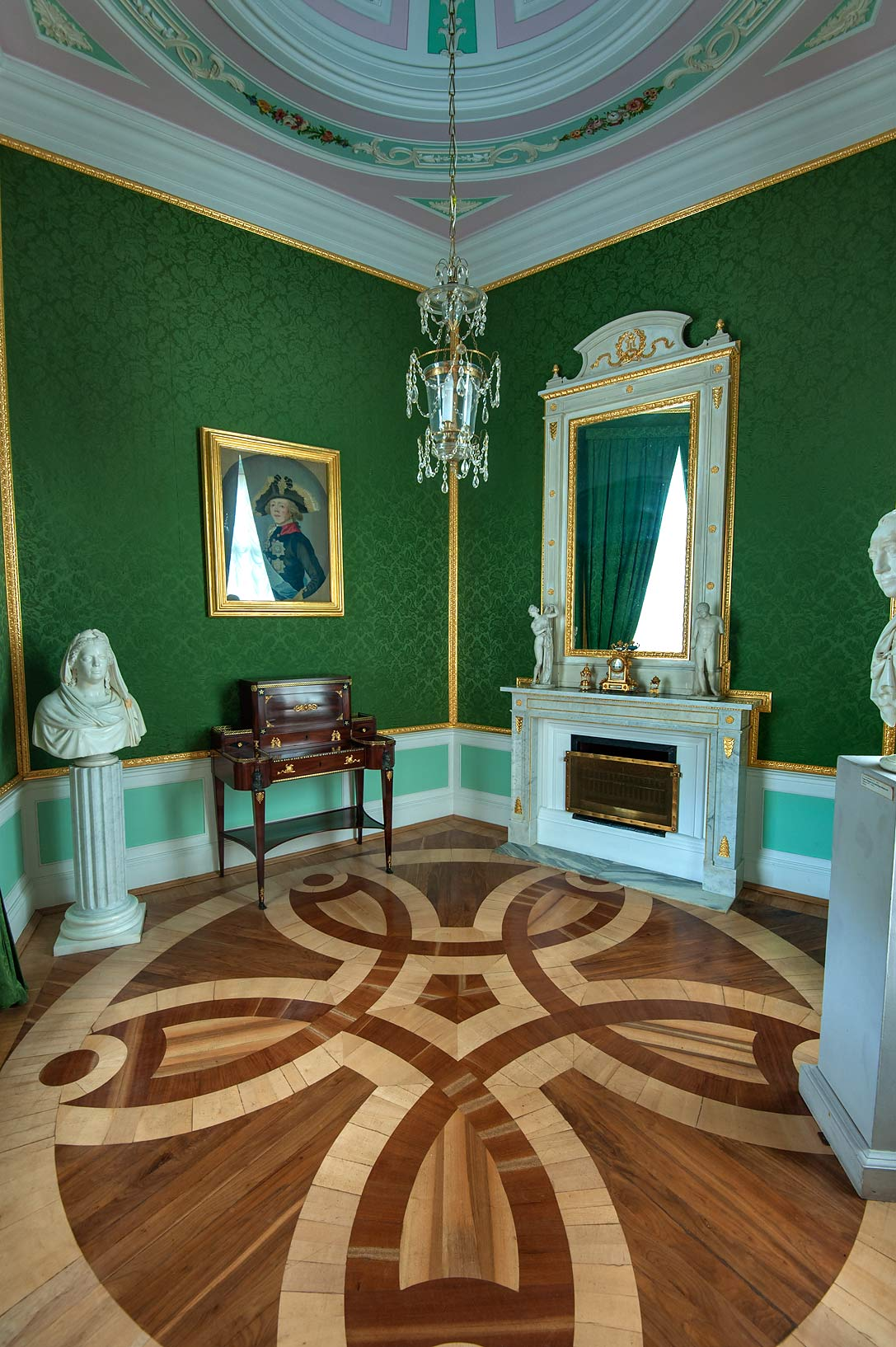 Corner room in Gatchina Palace. Gatchina, suburb of St.Petersburg, Russia