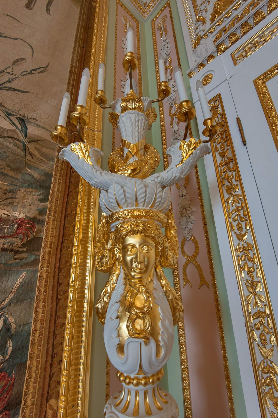 Gilded torch in Gatchina Palace. Gatchina, suburb of St.Petersburg, Russia