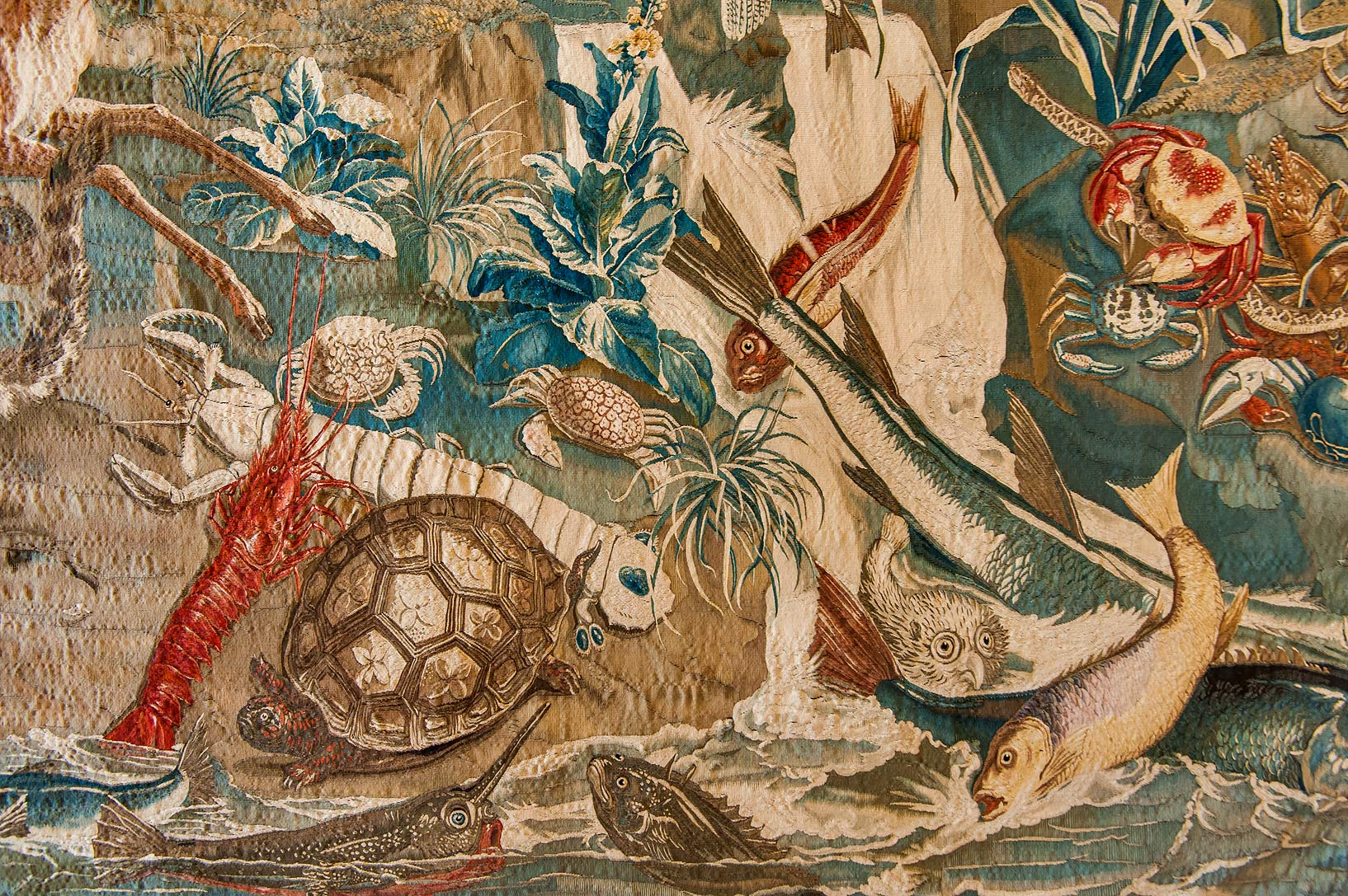 Sea animals on a tapestry in Gatchina Palace. Gatchina, suburb of St.Petersburg, Russia