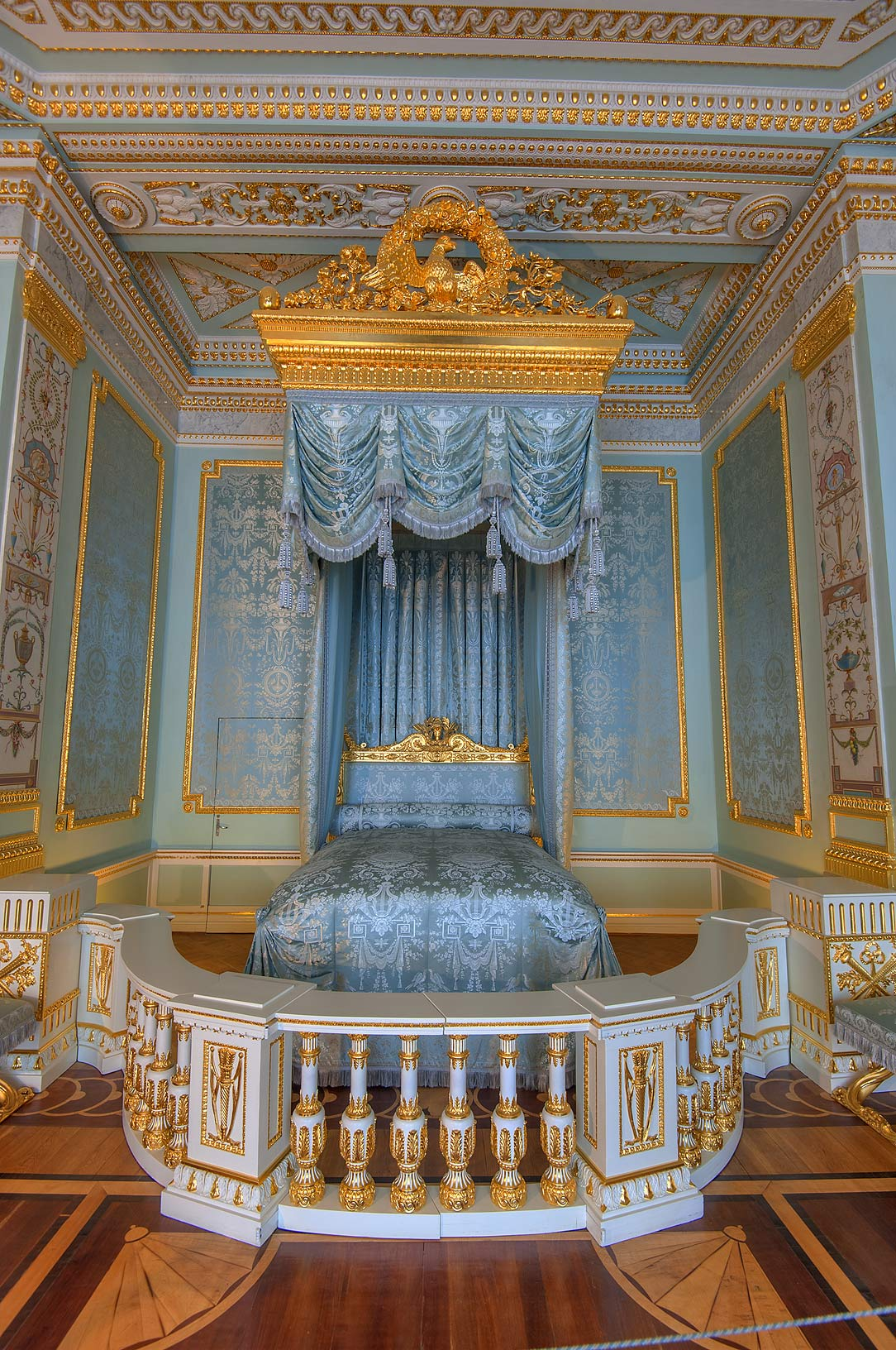 Drapery of State blue bedroom in Gatchina Palace...suburb of St.Petersburg, Russia