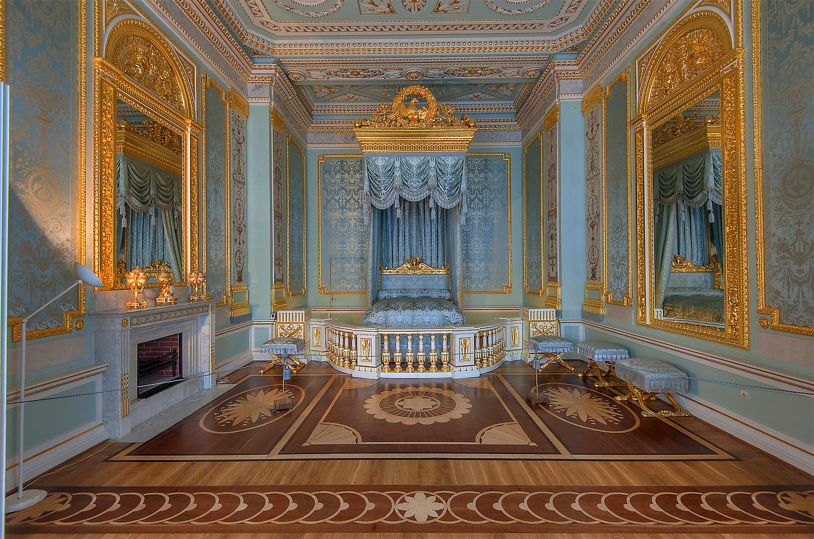 Decorated bedroom in Gatchina Palace. Gatchina, suburb of St.Petersburg, Russia