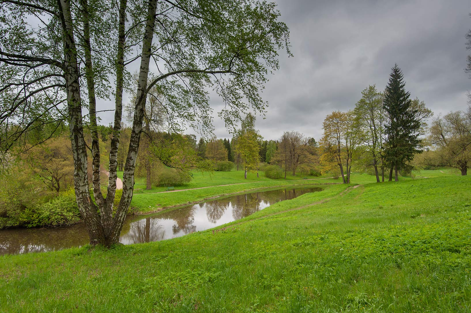 Valley of Slavianka River in Pavlovsk Park. Pavlovsk, suburb of St.Petersburg, Russia