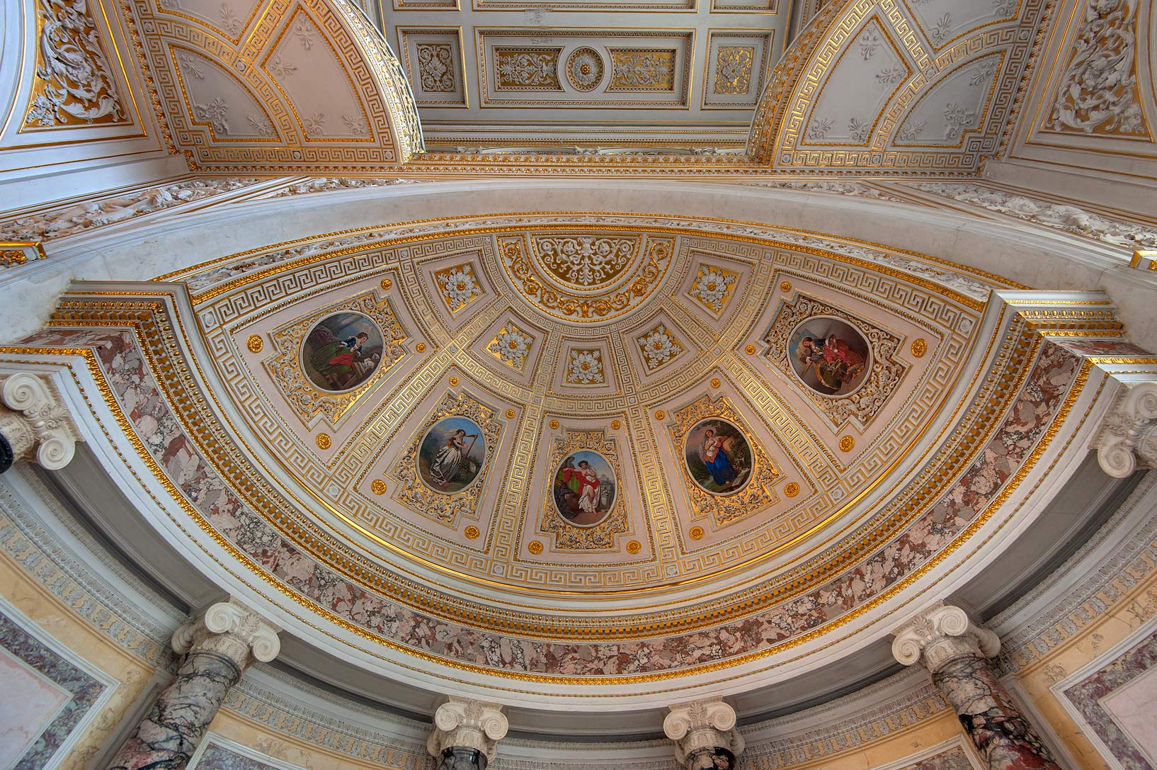Decorated dome in Pavilion Hall in Hermitage Museum. St.Petersburg, Russia