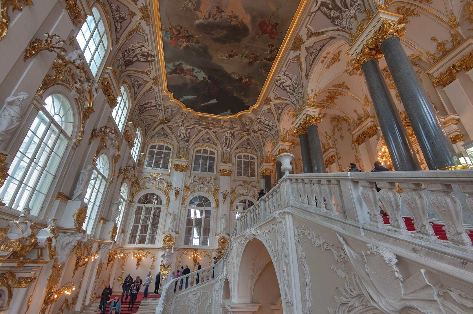 Grand staircase in Hermitage Museum. St.Petersburg, Russia