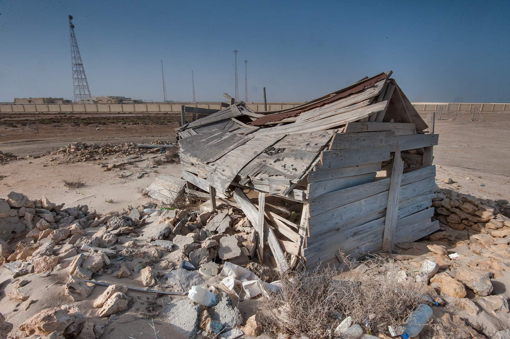Wooden barrack in old fishing village (ghost town...from Lekhwair on northern coast. Qatar