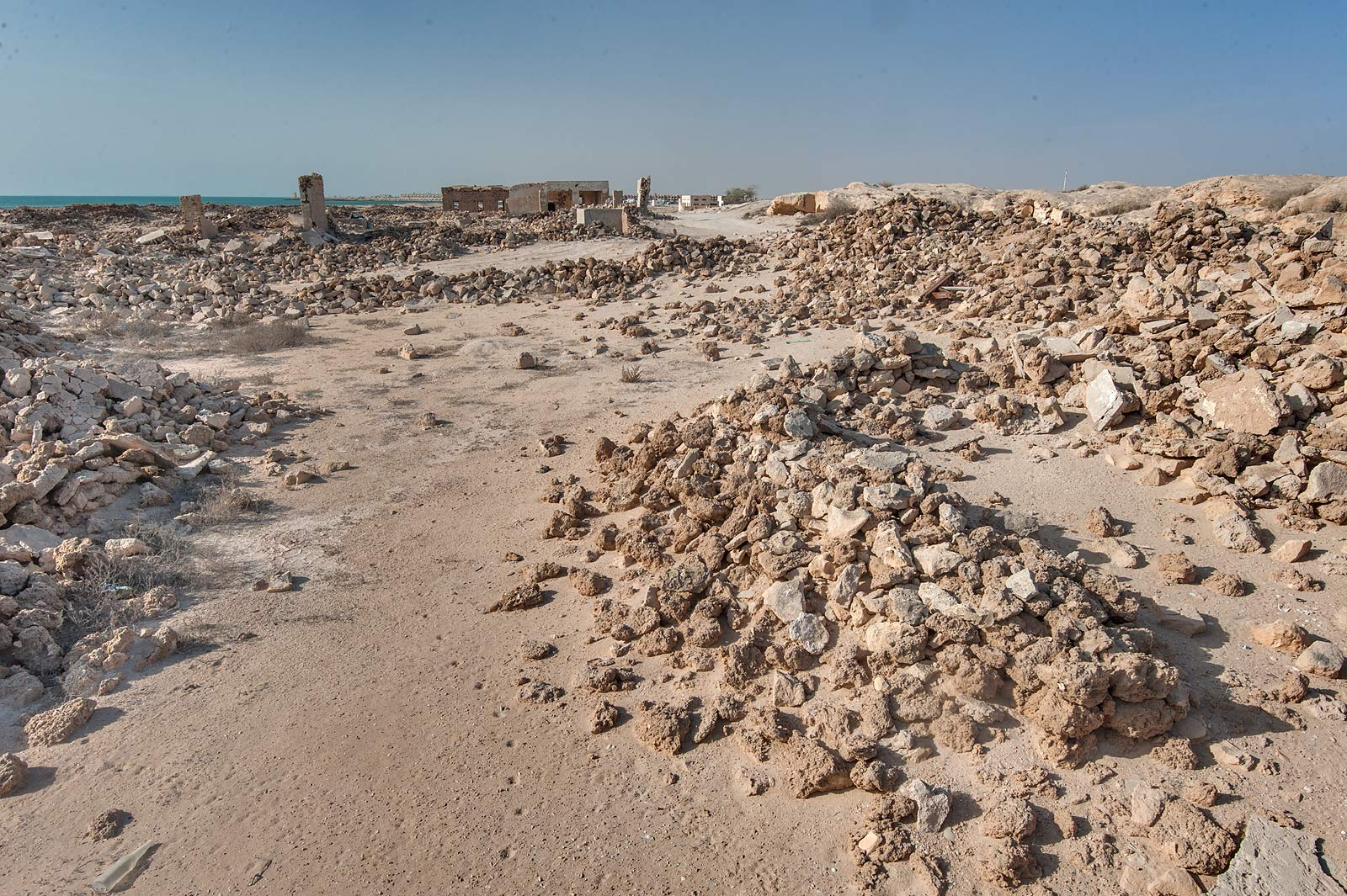 Stone rubble in old fishing village (ghost town...eastern coast, Ash Shamal area. Qatar