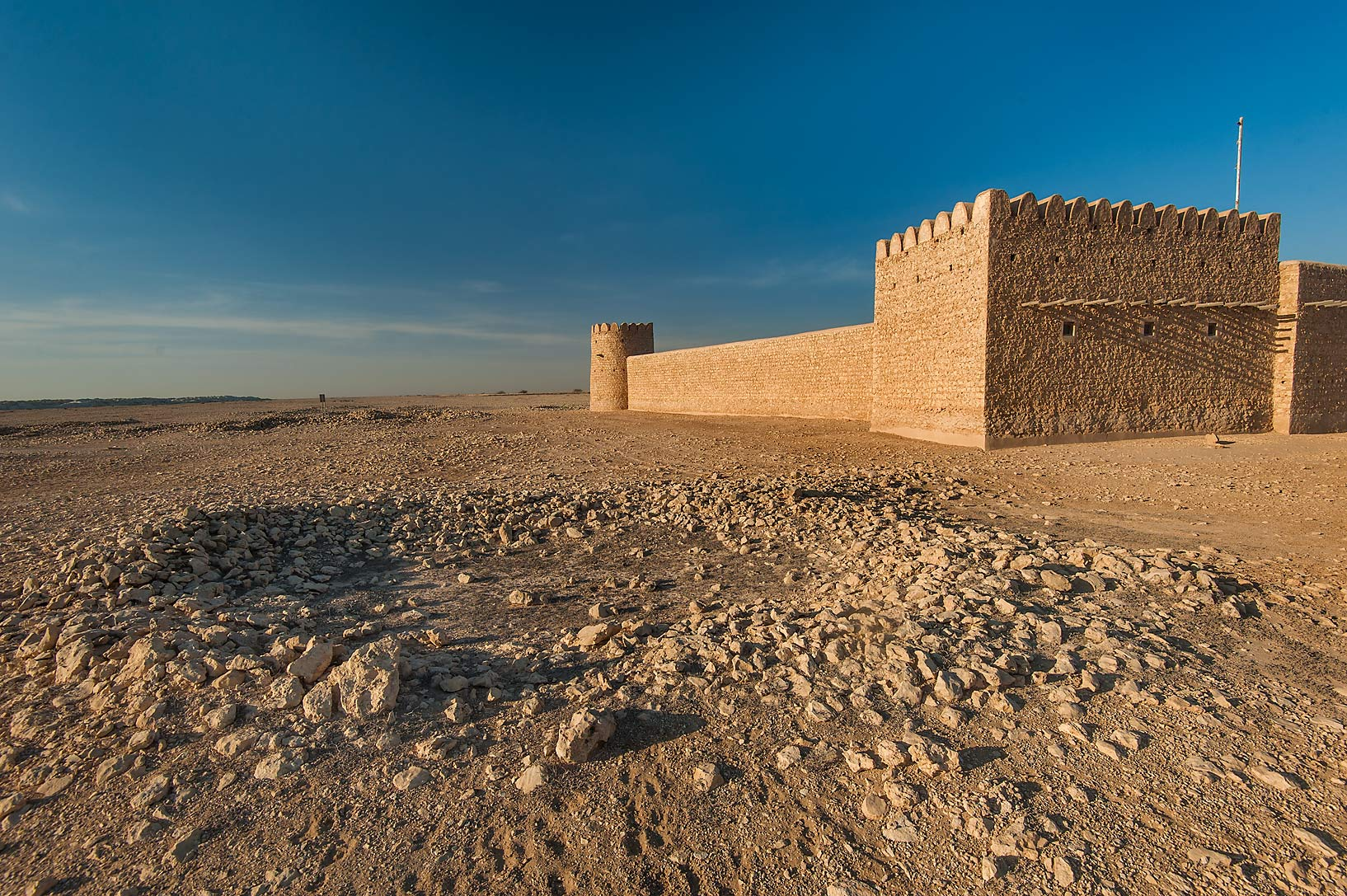 Remains of an old settlement near Al Thugab Fort. North-west coast, Qatar