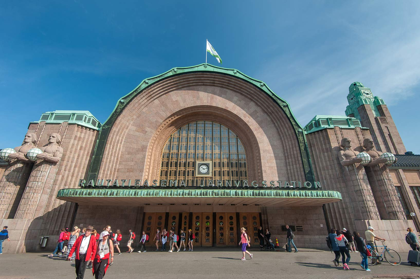 Main entrance of Central Railway Station. Helsinki, Finland