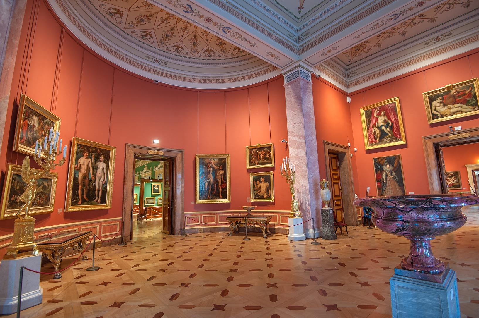 Paintings of pink rotunda in Hermitage Museum. St.Petersburg, Russia