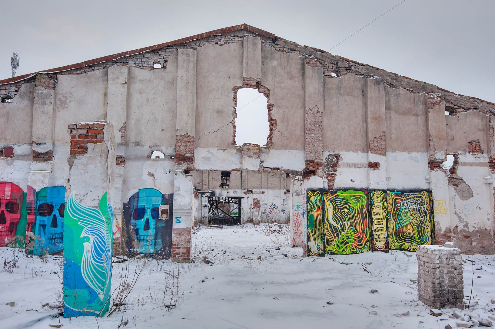 Graffiti in old warehouse at Internatsionalnaya St. in Kronstadt. St.Petersburg, Russia