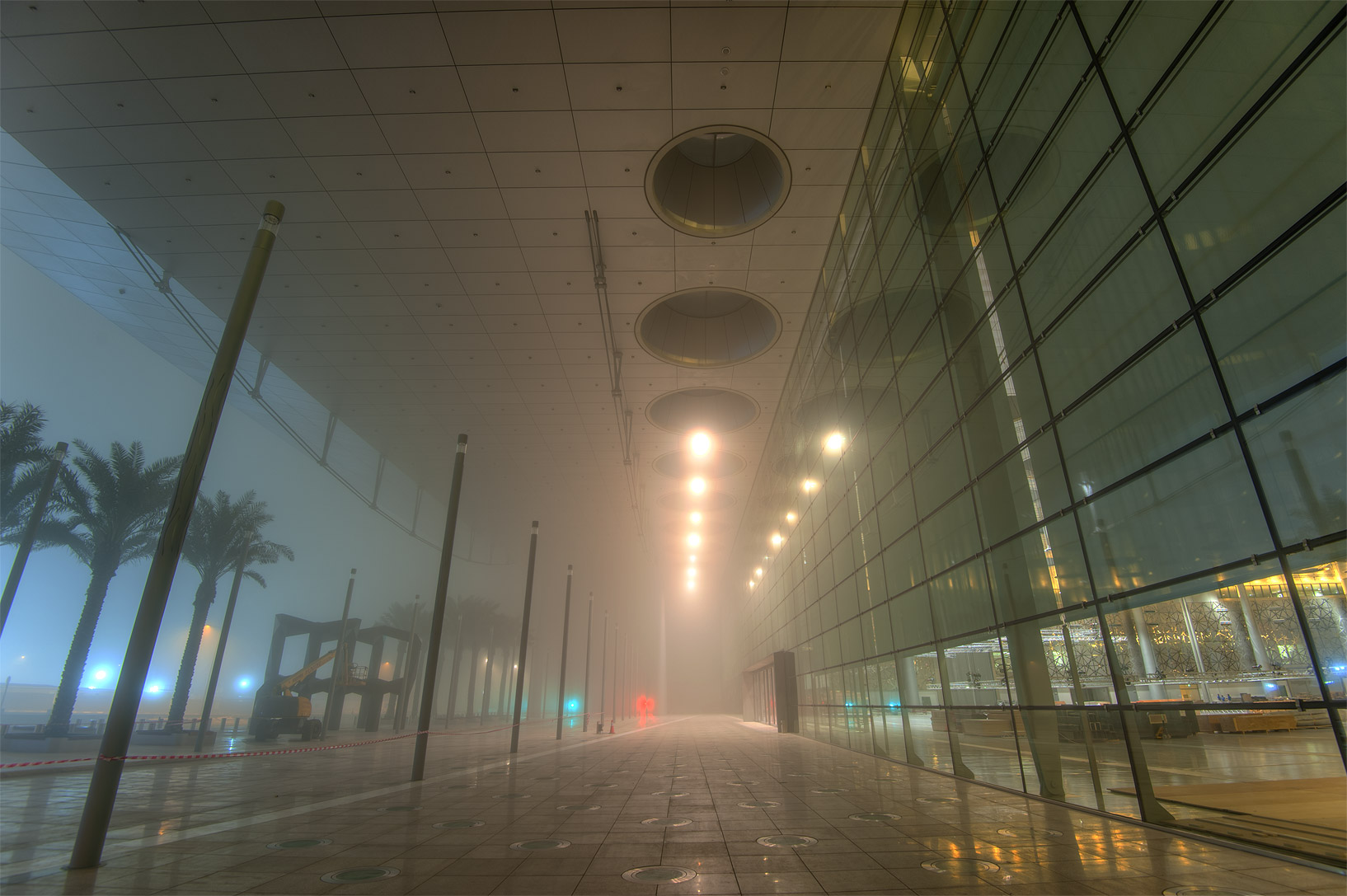 Exhibition and Convention Center (DECC) near City...mall in West Bay in fog. Doha, Qatar