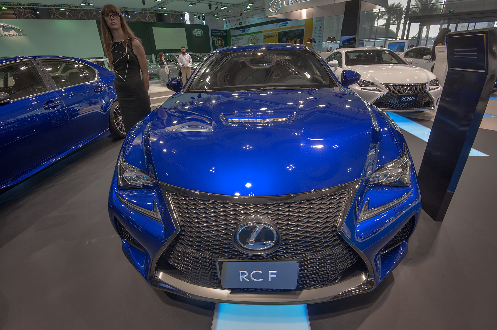 Blue RCF car at a motor show in Exhibition and...near City Center mall. Doha, Qatar