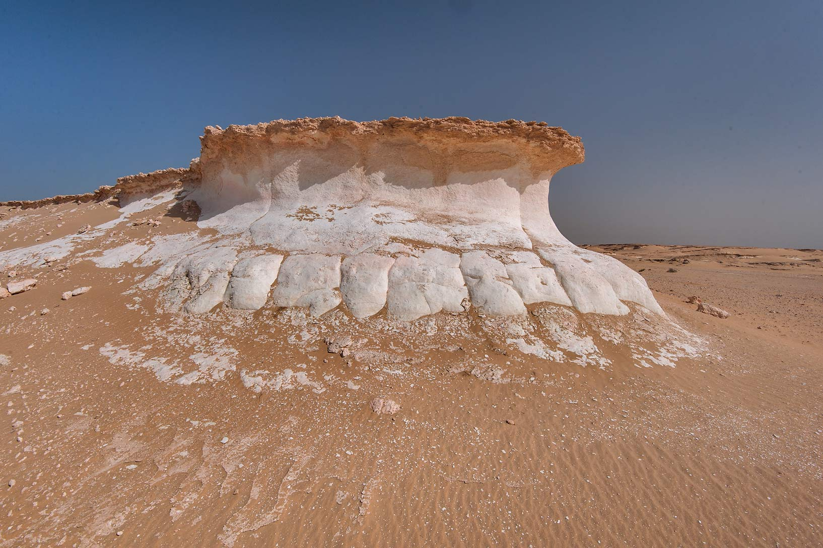 Mushroom shaped limestone rock in area of Jebel...an Nakhsh) in south-western Qatar
