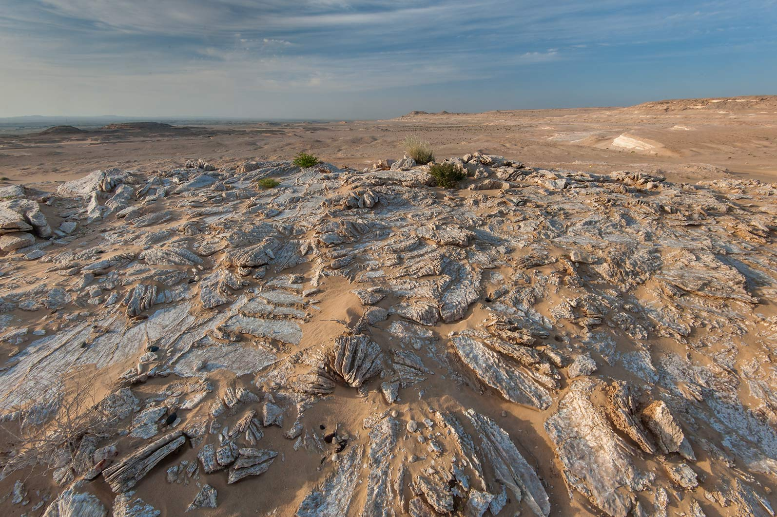 Gypsum plateau in area of Jebel Al-Nakhsh (Khashm an Nakhsh). South-western Qatar