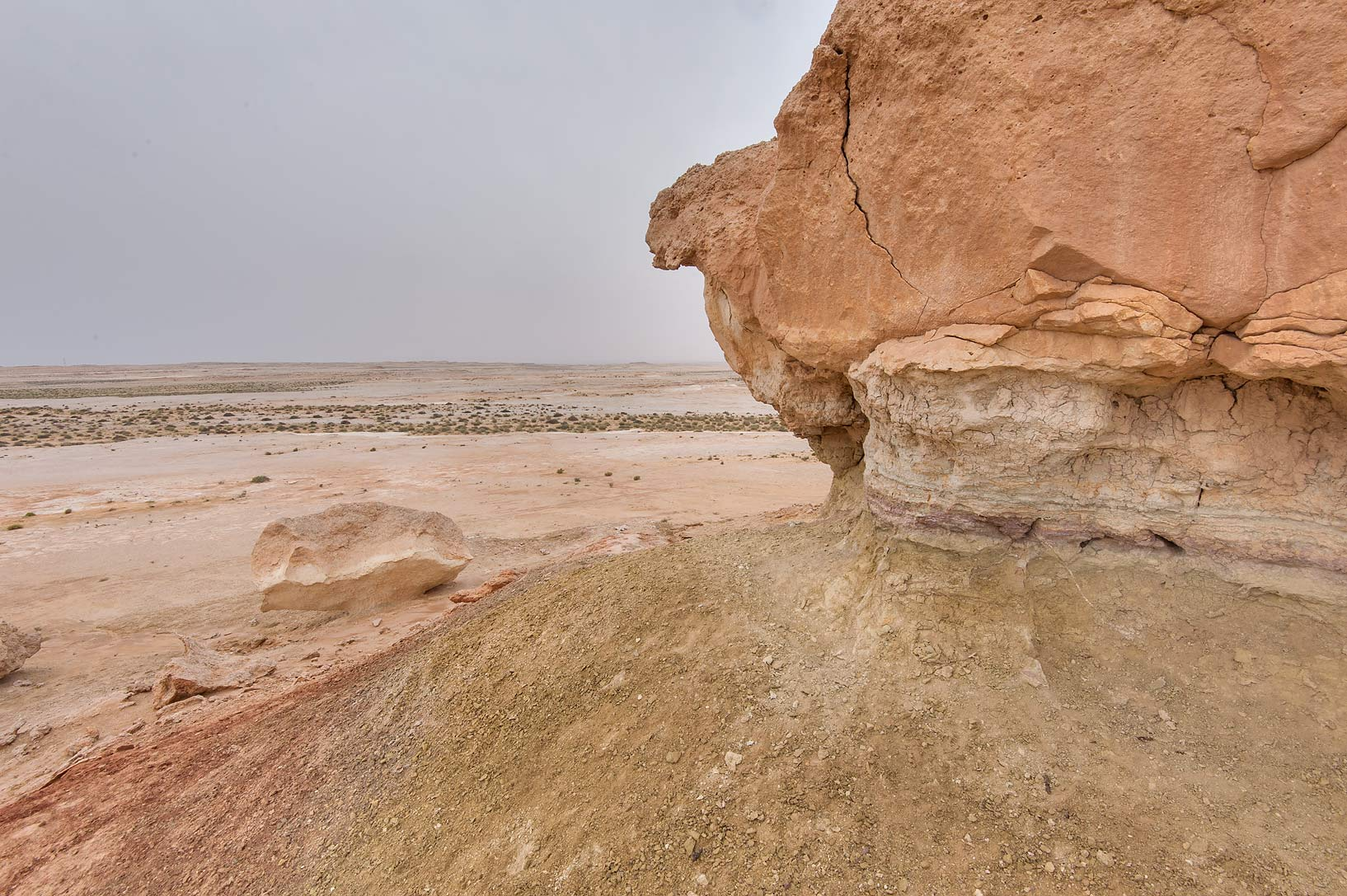 View from a limestone cliff in Maszhabiya (Al...Reserve near Abu Samra. Southern Qatar