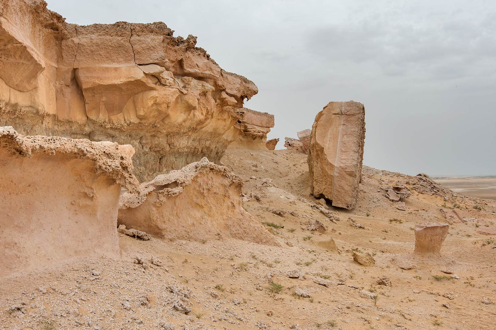 Large stones detached from the edge of limestone...Reserve near Abu Samra. Southern Qatar