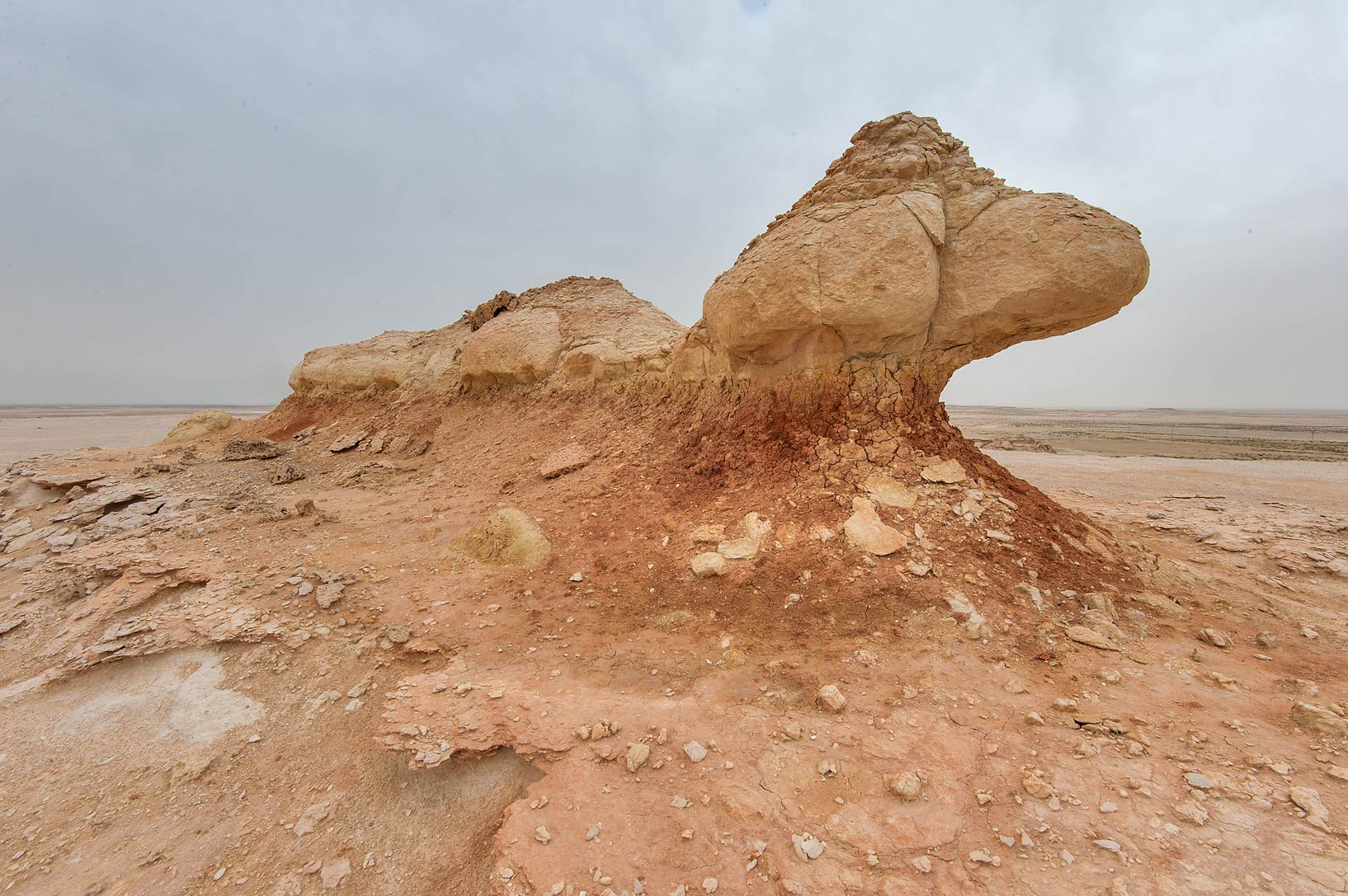 Erosion of a limestone formation on a plateau of...Reserve near Abu Samra. Southern Qatar