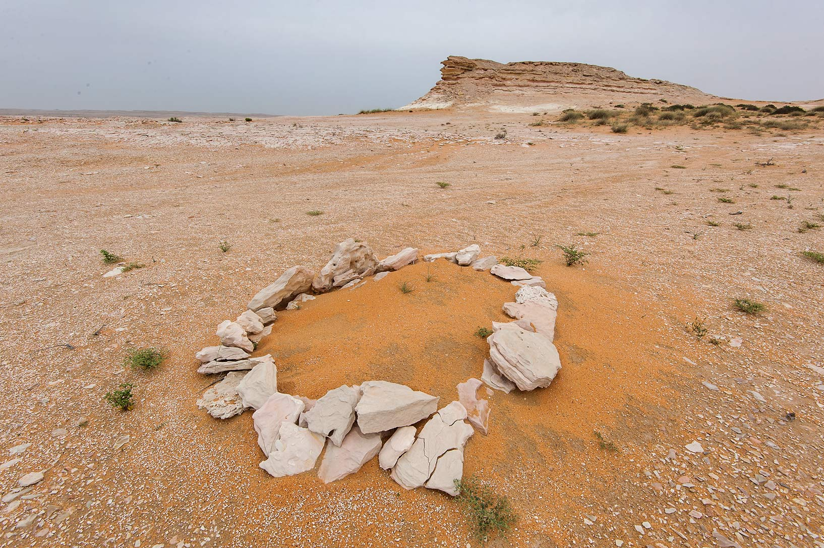 Rock circle on a plateau at the foot of a hill in...Reserve near Abu Samra. Southern Qatar