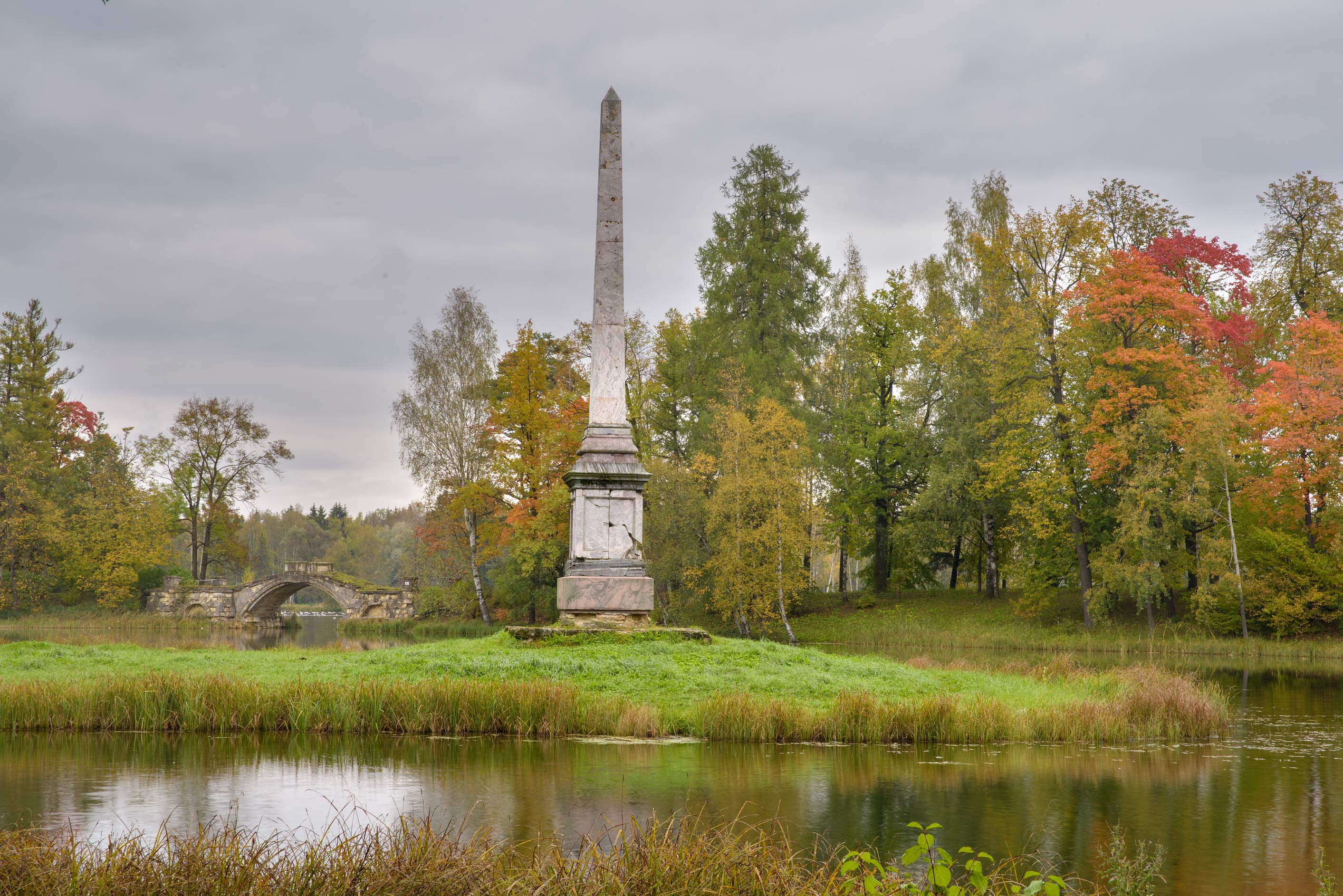 Chesma Pillar in Gatchina Park. Gatchina, a suburb of St.Petersburg, Russia