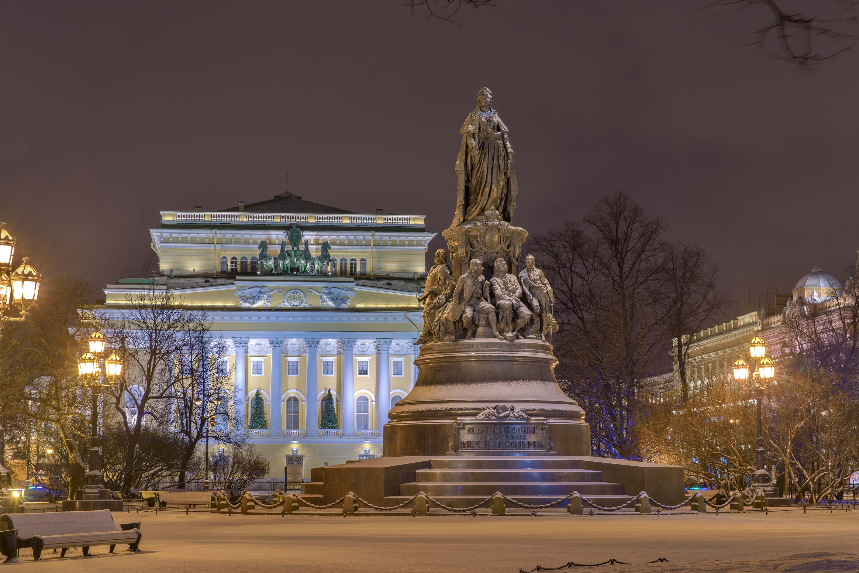 Catherine the Great Monument near Nevsky Prospect. St.Petersburg, Russia