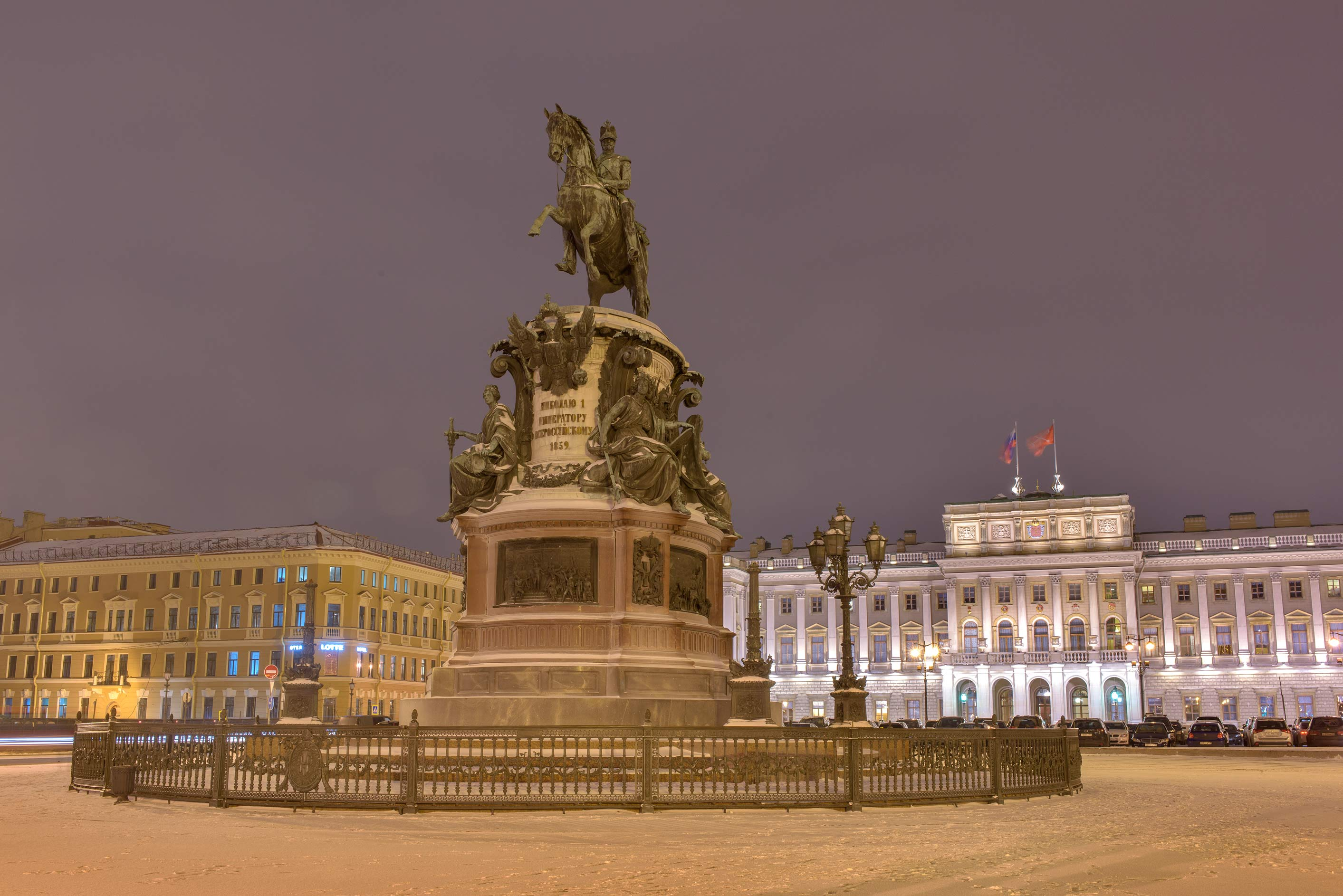 Nicholas I monument on Isakiyevskaya Square. St.Petersburg, Russia