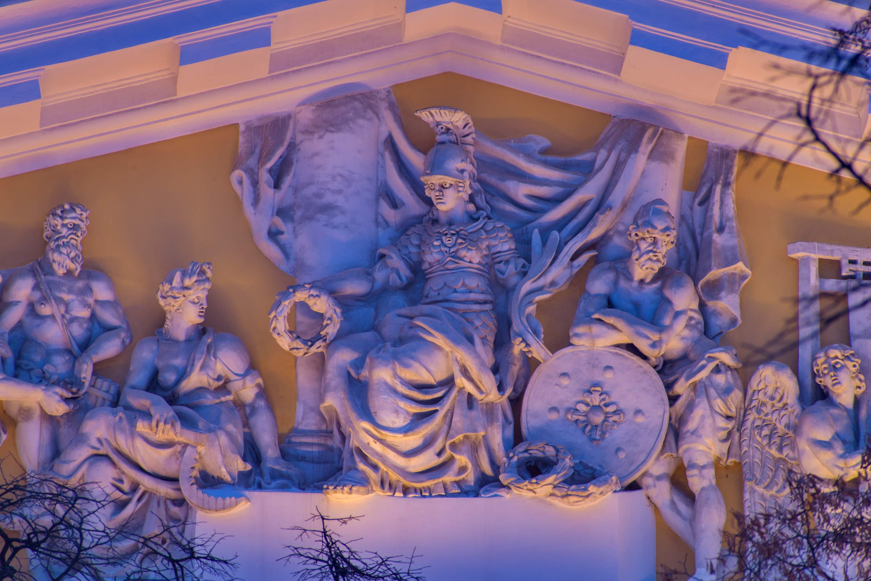 Figures of mythical heroes on a pediment of Admiralty. St.Petersburg, Russia