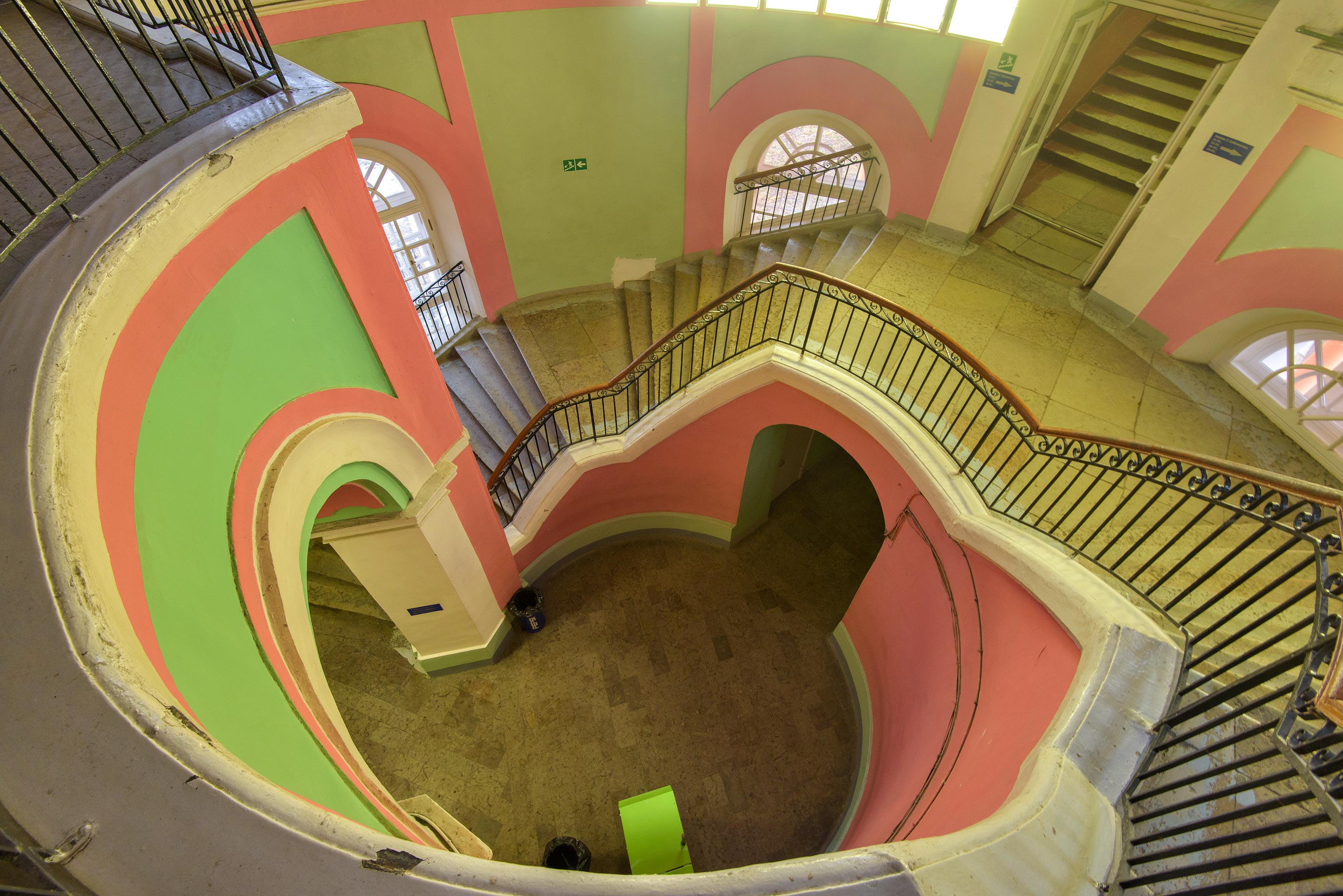 Upper view of circular stairs of Chesmensky...on Gastello St.. St.Petersburg, Russia